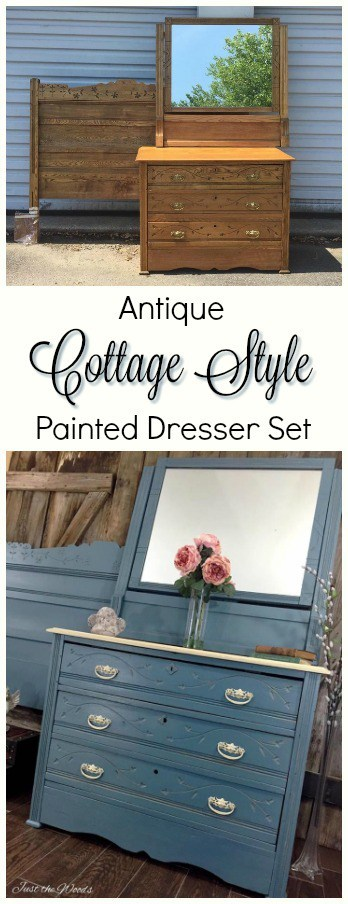 Cottage Style Painted Dresser set by Just the Woods