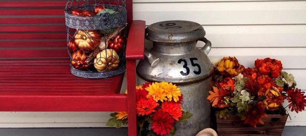 How to Decorate a Small Porch for Fall by Just the Woods