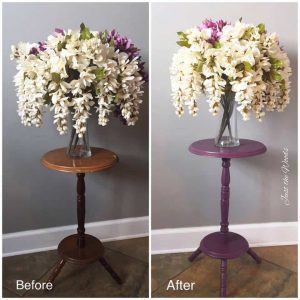 Before and after painted plant stand