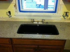 Kohler sink, black sink, kitchen remodel, new sink