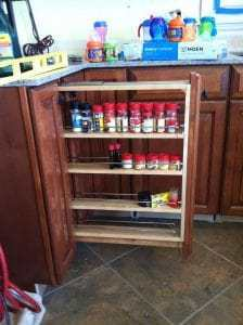 pull out spice storage, spice rack, kitchen remodel