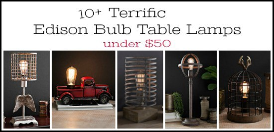table lamps, edison bulbs, vintage lamps, affordable lamps