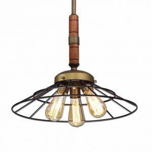 vintage metal and wood chandelier