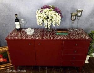 Custom Painted Cranberry Credenza by Just the Woods, painted buffet, chalk paint