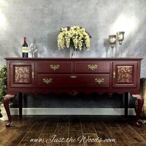 Elegant Painted Buffet with Gold Stencil Details by Just the Woods