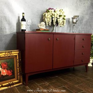 cranberry paint, chalk paint, vintage furniture, painted furniture, staten island, stencil
