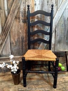 black painted ladder back chair, black chair, ladder back chairs with rush seats,