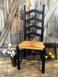 chalk paint, cotten stems, painted chair, painting furniture black distressed