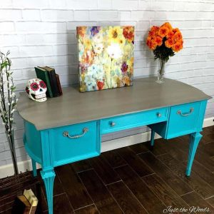 Gray washed Top on Painted Desk