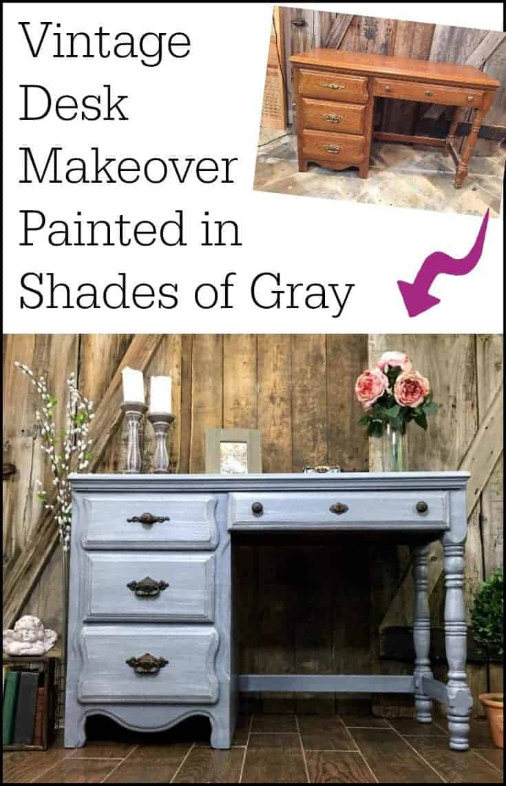 A vintage painted gray desk makeover in shades of gray. Layers upon layers, distressed and sealed for a weathered gray finish. | how to paint furniture | painted desk ideas | how to dry brush | layered painting technique | gray painted desk | gray painted furniture | vintage desk |