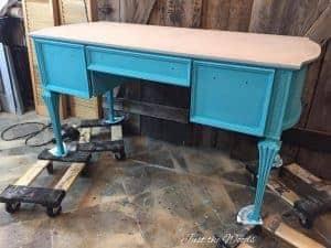 turquoise chalk paint, painted desk, vintage desk, blue paint, tiffany,