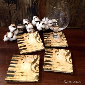 decoupaged tile coasters with napkin
