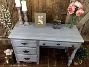 layered chalk paint, how to paint in layers, dry brush, chalk paint, gray desk