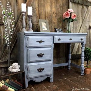 painted desk, layered paint, chalk paint, staten island, nyc, vintage desk, gray desk