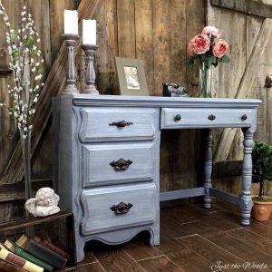 painted desk, layered paint, chalk paint, staten island, nyc, vintage desk, gray desk