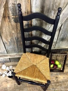 distressed,vintage chair, rush seat, ladder back chair
