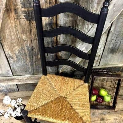 Painted Ladder Back Chair in Distressed Black