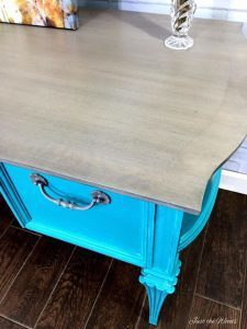 ebony glaze, black glaze, chalk paint, painted desk, turquoise painted desk