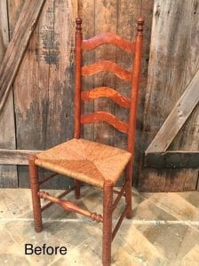 ladder back chair before, vintage chair, rush seat, ladder back