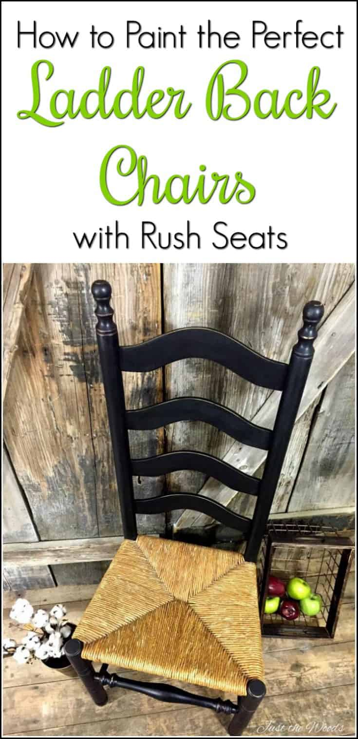 Paint a Perfect Ladder Back Chair with rush seating the Easy Way in distressed black chalk type paint. A classic painted furniture makeover