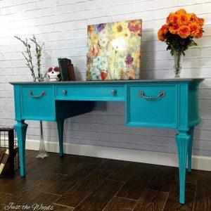 Turquoise Painted Desk, vintage desk, painted desk, just the woods, staten island