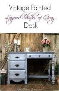 painted-gray-desk, vintage desk, chalk paint, desk design