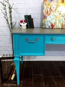 painted hardware, silver painted hardware, turquoise painted desk, just the woods