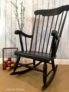 rocking-chair-with-splindles-painted-black, black painted furniture, chalk paint, distressed