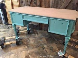 pure home paint, skye, tiffany, chalk paint, painted desk, turquoise desk