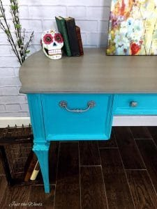 stone washed, white washed, painted desk, vintage painted furniture, just the woods