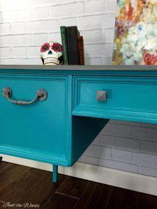 Vintage Painted Turquoise Desk