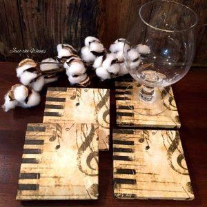 travertine tile coasters with decoupaged napkins