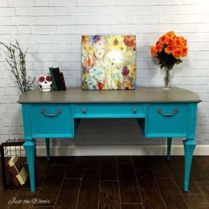 Painted Turquoise Desk, new york, staten island, just the woods