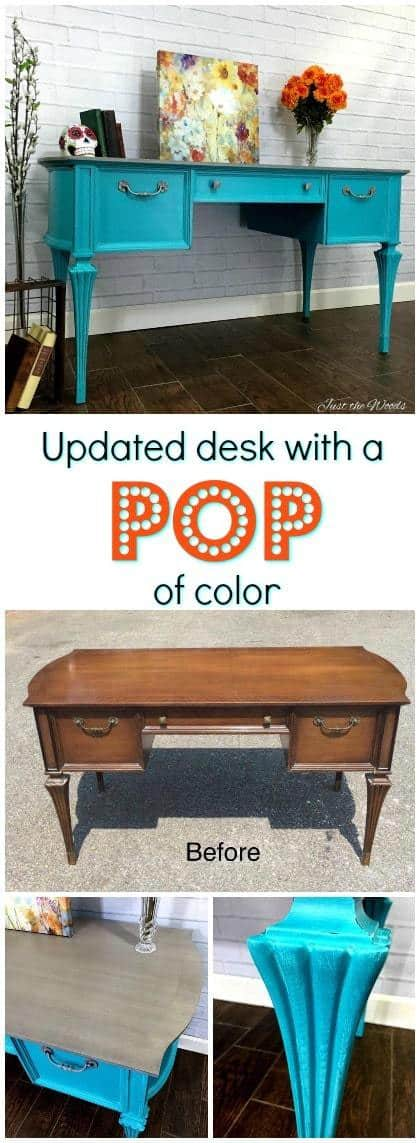 A vintage painted turquoise desk with gray washed top revealing patterned wood grain underneath and silver gray hardware to match. #turquoisedesk #bluedesk #tealdesk #painteddesk #turquoisepaintedfurniture #turquoisechalkpaint #turquoisefurniture