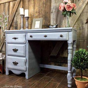 vintage painted desk, painted gray desk