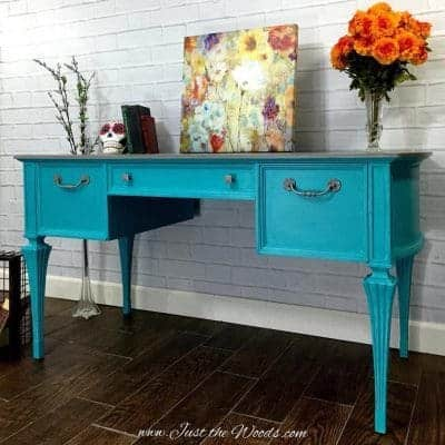 Turquoise Painted Desk with Gray Wash Top