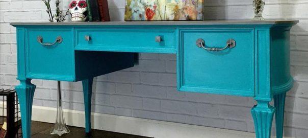 Painted Turquoise Desk, vintage desk, painted desk, staten island