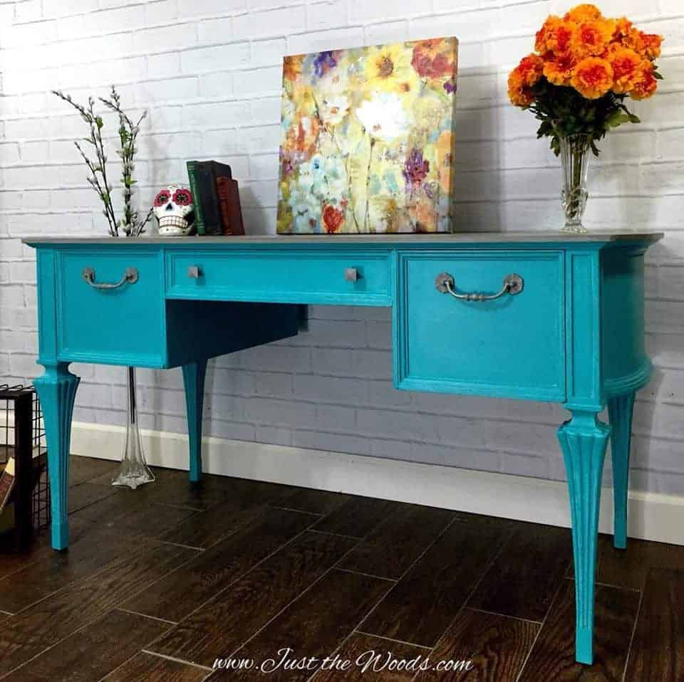How to Give a Painted Turquoise Desk a Gray Washed Top