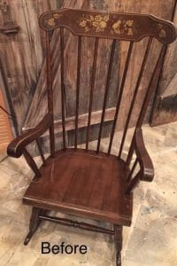 vintage rocking chair, paint sprayer, painted furniture