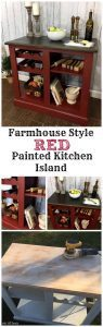 Farmhouse Style Red Painted Kitchen Island