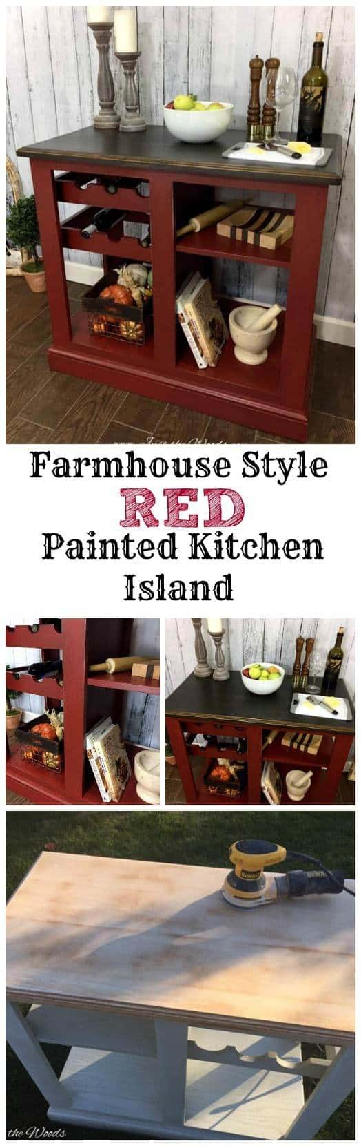 Farmhouse Style Red Painted Kitchen Island, red kitchen island, portable kitchen island