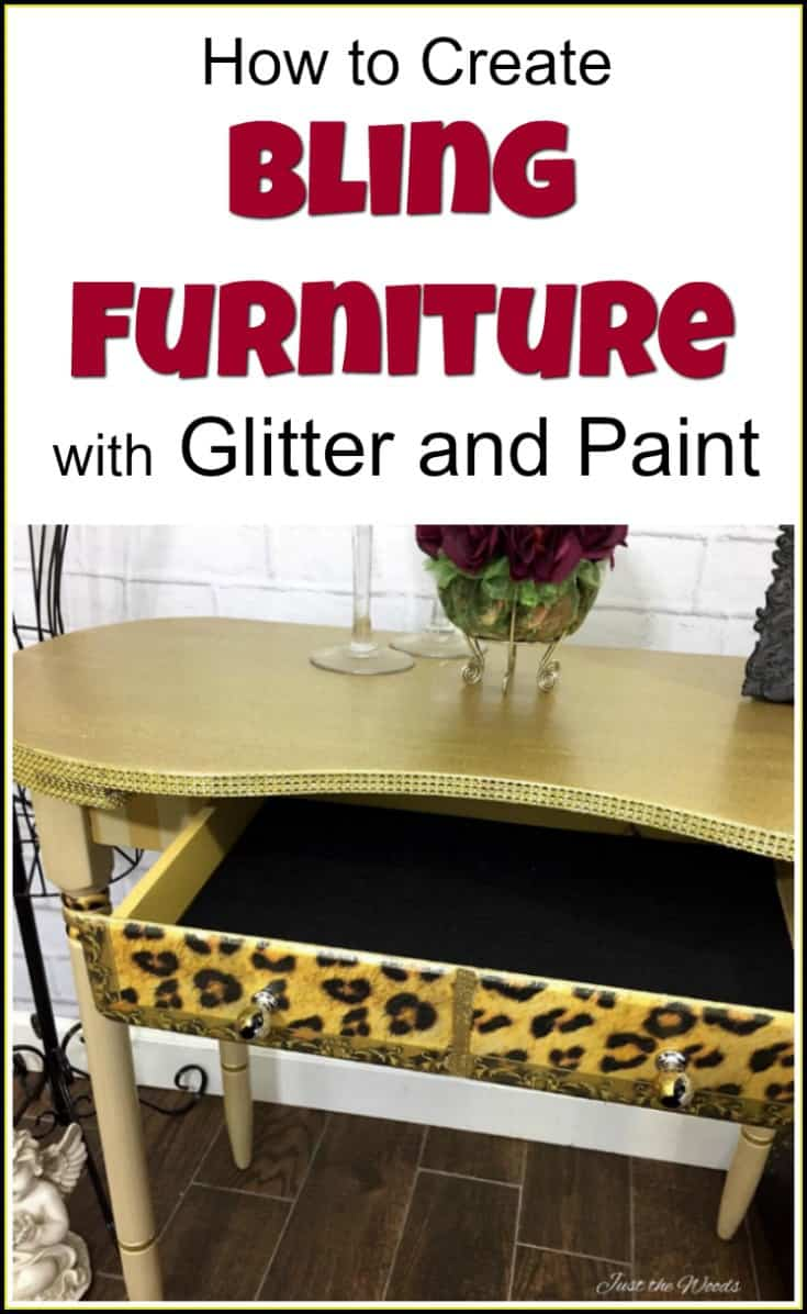 Create Bling Furniture with Glitter and Paint   bling furniture   glitter paint   glam furniture   gold furniture   leopard decoupage   how to glam furniture   how to bling furniture