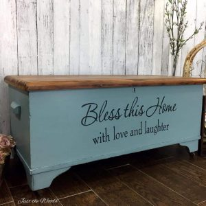 cedar chest with words, stencil, staten island, vintage furniture