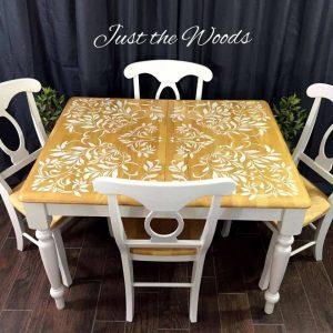 damask-stenciled-dining-set, stenciled table, damask stencil