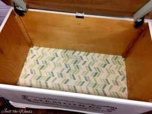 Fabric Lined Painted Toy Box with Image Transfer