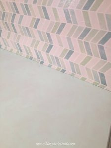 mint chalk paint, chevron fabric