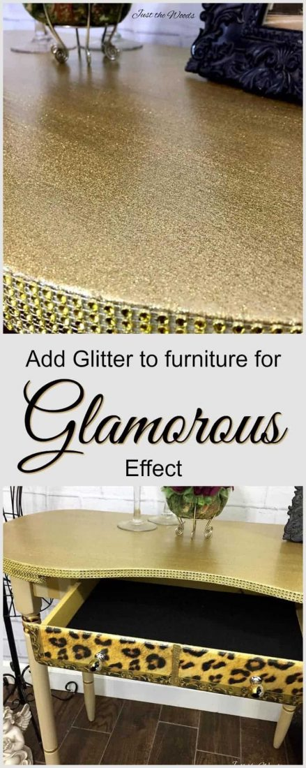 How to add glitter to painted furniture. A vintage desk makeover is given a glam makeover with glitter, crystals, and a swanky leopard print decoupage. Create Bling Furniture with Glitter and Paint | bling furniture | glitter paint | glam furniture | gold furniture | leopard decoupage | how to glam furniture | how to bling furniture