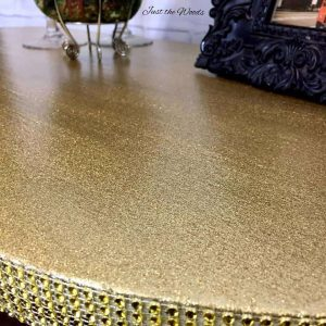 how to add glitter to furniture, glitter desk, gold desk, gold furniture, bling furniture ideas