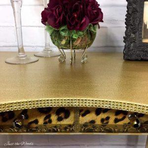 Glamorous Glitter Desk with Leopard Drawer