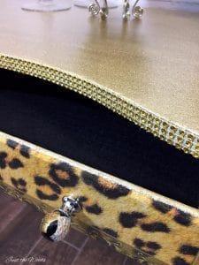 glitter on furniture, gold furniture, painted desk, metallic chalk paint, nyc
